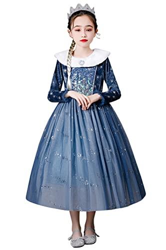YOSICIL Vestido Frozen Nia Disfraz Elsa Disfraz de Princesa con Estola Manga Larga Espeso y Clido Fancy Dress Carnaval Costume Navidad Cumpleaos Fiesta 2-10 Aos