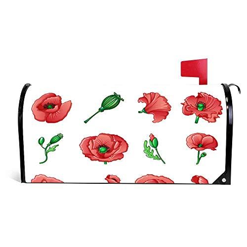 wendana Poppy Remembrance Day Icons Set Cartoon Style Briefkasten-Abdeckung magnetisch Vinyl Home Garden Decor Mailbox Wrap Post Briefkasten-Abdeckung 45,72 x 53,3 cm
