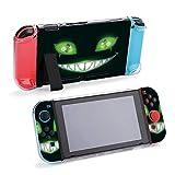 Design22989 Coque de protection pour console et Joy-Con Motif visage effrayant avec yeux verts brillants Compatible avec Nintendo Switch avec protecteur d'écran et poignées de pouce