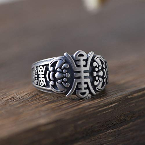 Iony 925 Sterling Silver Thumb Rings Women,Vintage Chunky Chinese Word &Quot;Longevity&Quot; Adjustable Open Finger Ring Glam Delicate Royal Couple Birthday Band Charms Jewellery Gift