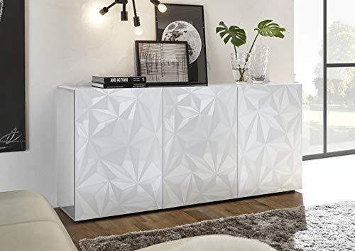 Arredocasagmb.it Mobile credenza Contenitore 3 Ante Moderno Bianco Lucido Anta con Serigrafia Soggiorno Madia Buffet con sportelli Design PRISMO 05