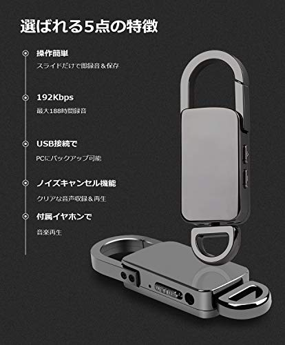 Snahikeボイスレコーダーキーホルダータイプ小型高音質長時間16GB録音機長時間録音1年保証付日本語取扱説明書付グレー…