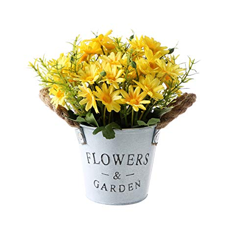 Gumolutin Artificial Flowers Pot, Fake Bonsai Plants in Metal Potted for Home Wedding Office Restaurant Table Centerpieces Arrangement Decoration,Daisy-Yellow