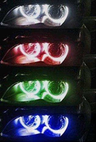 Fochu Impermeable E4642Smd 5050Rgb Led Angel Ojos Faro Luz de Marcha Diurna Anillos de Luz de Posición Luminosas Multicolor Proyección 4* 131Mm con Mando A Distancia