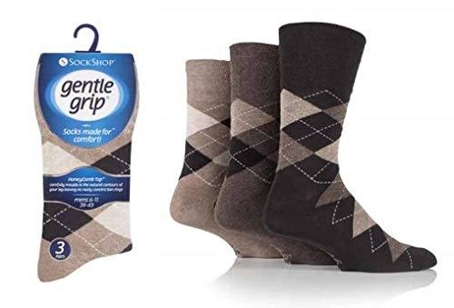 Sock-Shop Gentle Grip Herren Socken, unelastisch, lockere Oberseite, mit Honigkamm & handgekettelte Zehennaht, perfekt für Diabetiker, Schuhgröße 39-45, 12 Paar Gr. 39-45, Argyle, Neutrals