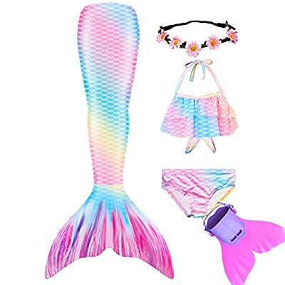 Wfundeals Mermaid Tails for Swimming with Monofin Swimsuit Costume Cosplay, Princess Bikini Set Rainbow