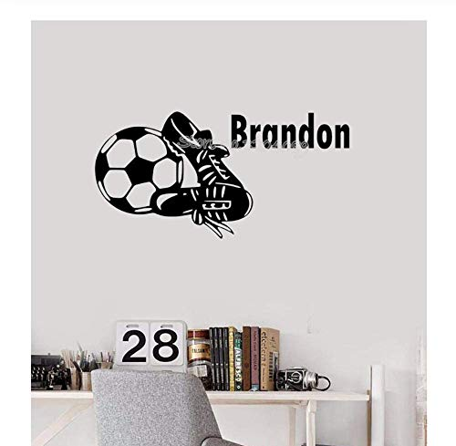 Voetbalschoenen personaliseerbaar naam muursticker voetbalschoenen mooie stickers gepersonaliseerd kinderkamer Decor Art Wallpaper 60 cm x 30 cm