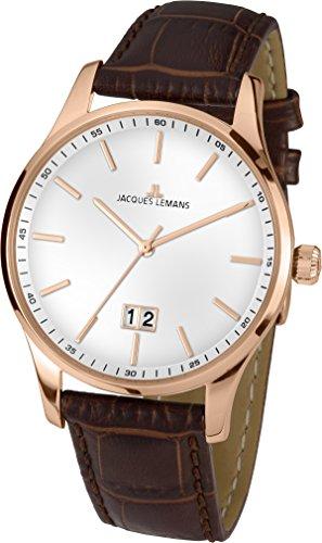 Jacques Lemans Herren Analog Quarz Uhr mit Leder Armband 1-1862F