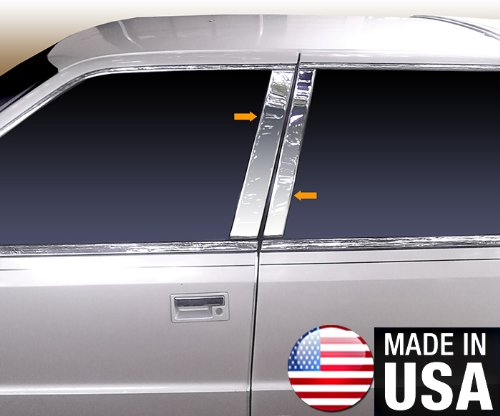 Made in USA! Compatible with 1988-1993 Chrysler New Yorker 4 PC Stainless Steel Chrome Pillar Post Trim