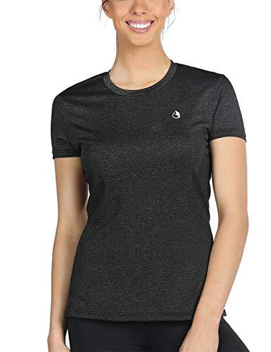 icyzone Sport T-Shirt Damen Kurzarm Laufshirt - Atmungsaktive Fitness Gym Shirt Schnell Trockened Funktionsshirt (XXL, Schwarz)