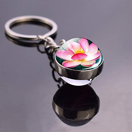 TGSM Blume Schlüsselring Lotus und Gänseblümchen Sonnenblume Schlüsselbund Glaskugel Anhänger Schmuckkugel Geschenk für Männer Kinder Frauen niedlichen Schlüsselbund als Show