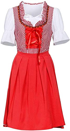 Disfraz de fiesta de cerveza alemana para mujer, disfraz de Oktoberfest bvaro para fiesta de Halloween, disfraz de nia a cuadros para adultos (color: rojo y blanco, tamao: S)