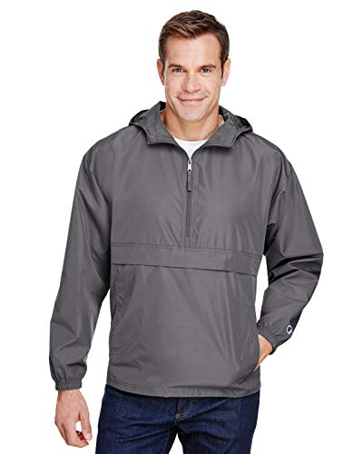 Champion Mens Packable Anorak 1/4 Zip Jacket (CO200) -Graphite -L