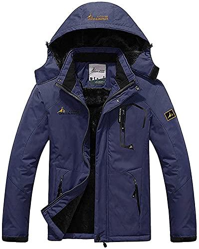 cappotto uomo blu Memoryee Uomo Sci Giacca Pile Fodera Antivento Cappotto Invernale all'aperto Caldi con Cappuccio Staccabile Giacche/Navy blue/M