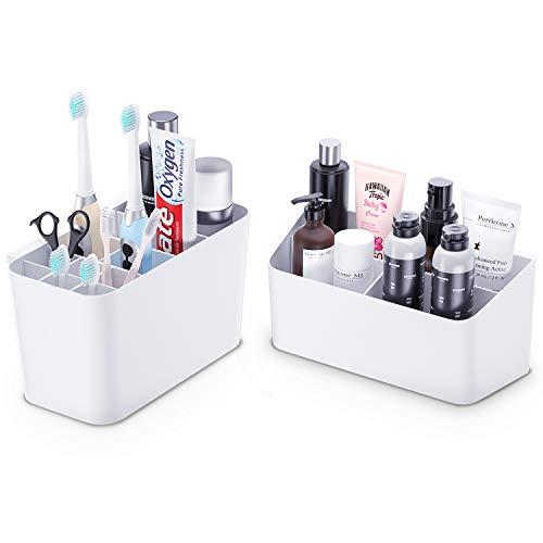 EliveSpm Zahnbürstenhalter 2 Packungen Zahnpastaständer und Badaufbewahrungs-Organizer-Set für Badezimmer (Weiß)
