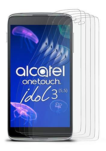 5X Alcatel OneTouch Idol 3 5.5   Schutzfolie Matt Bildschirm Schutz [Anti-Reflex] Screen Protector Fingerprint Handy-Folie Matte Bildschirmschutz-Folie für Alcatel One Touch Idol 3 5.5 Bildschirmfolie