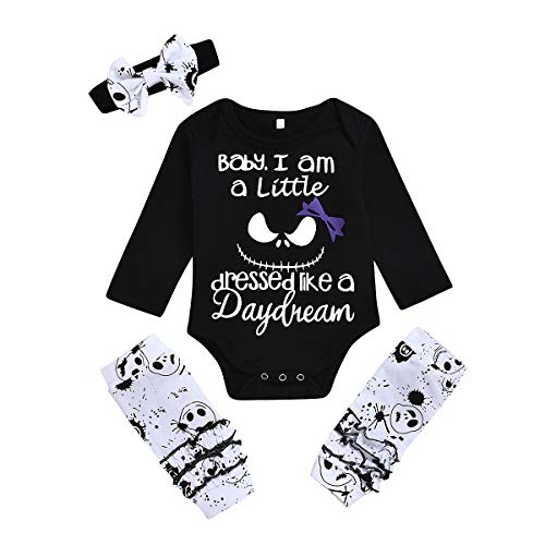 Halloween Baby Boy Girl Clothes 2PCs Outfit Set Nightmare Before Christmas T-Shirt and Skull Pants 0-6T (Black + White, 0-6 Months)