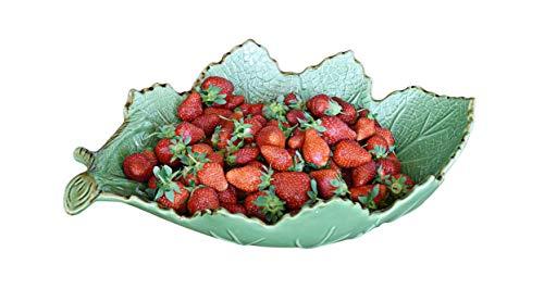 LA VITA VIVA designer sla en fruitschaal bladvorm keramiek groen
