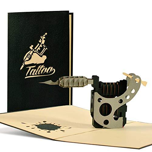 Ausgefallener Gutschein für ein Tattoo, Originelle 3D Pop-up Karte für Tattoo-Fans I Geburtstagskarte, mit detailgetreuer Tätowierpistole, H17AMZ