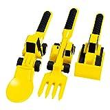 Hopowa Kindergeschirr 3 Stück Besteck für Kinder Bulldozer Bagger Schaufel Messer Form, Gabel und Löffe, Junge Kinder Geschenkset