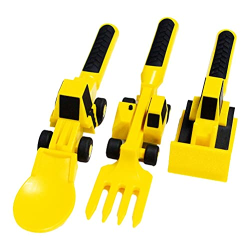 WINBST Besteck für Kinder, 3 Stück Bulldozer Bagger Schaufel Messer und Gabel Form Baustellen-Motivgabel und Löffel für Kleinkinder und Junge Kinder Geschenkset