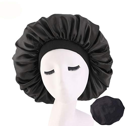 Wide Band Satin Bonnet Sleep Cap for Woman Man at Night Elastic Wide-Brimmed Night Cap Large Satin Bonnet Sleep Cap(2pcs) (Black(2PCS))