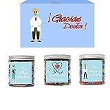 SMARTY BOX Regalo para Doctor, Regalo Original para Médico, Caja de Caramelos y Gominolas Sin Gluten, con Frases de agradecimiento, Golosinas Chuches, Chucherías Dulces