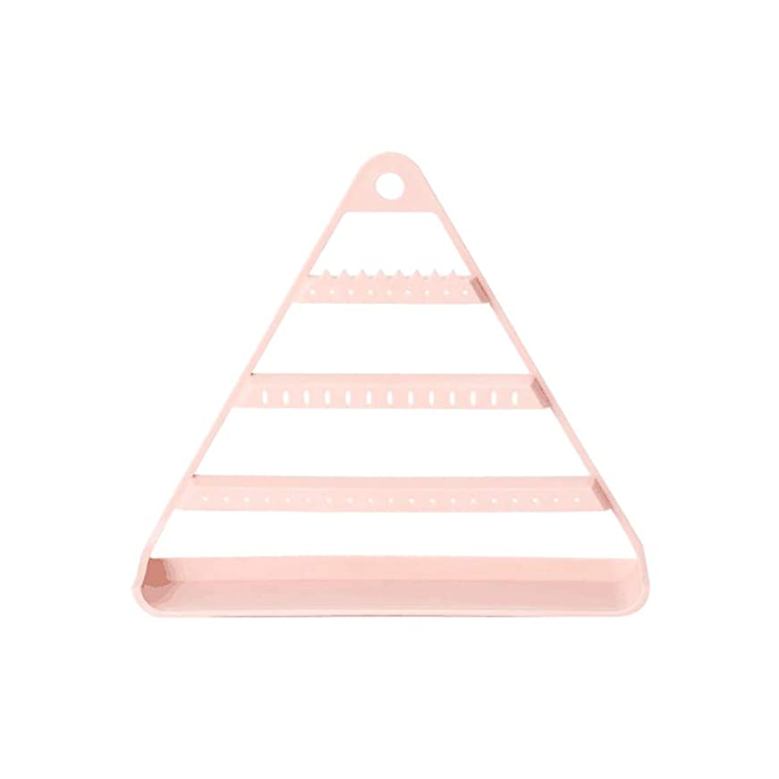 飾る収納 ピアス イヤリング 収納 ピアス収納 ネックレススタンド 三角形 lto8bm 小物入れ 卓上 大容量 収納力抜群 ジュエリー オーガナイザー 吊り下げ (ピンク)