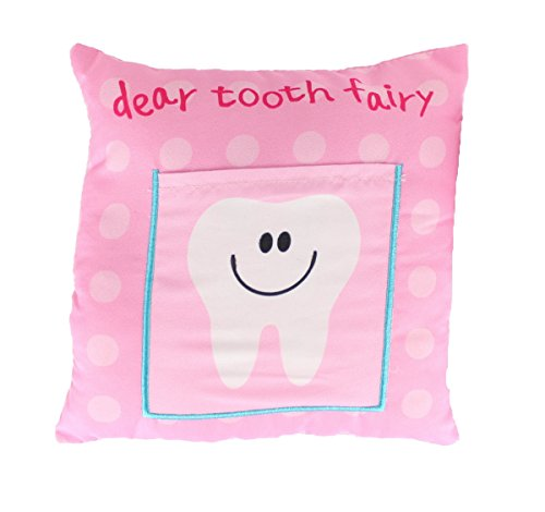 Tooth Fairy Childrens Kids Cushion Pillow With Tooth Pocket Boys Girls Keepsake (Pink)
