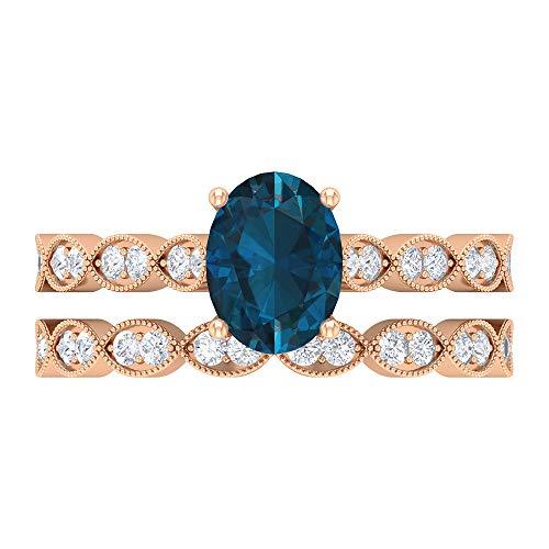 Conjunto único de anillos de novia, piedras preciosas de 2,11 quilates, diamante HI-SI 8x6 de topacio azul Londres, 10K Oro rosa, Size:EU 63