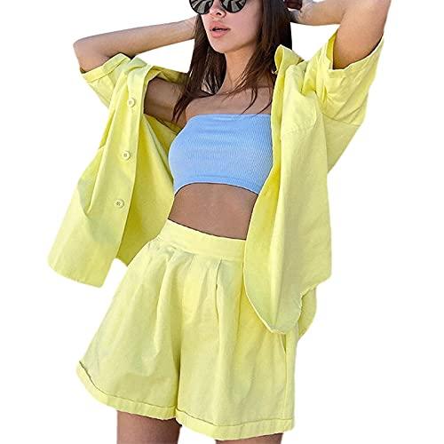 Conjunto de 2 piezas para mujer con botones de manga corta camisa blusa y pantalones cortos conjuntos de verano ropa casual, amarillo, S