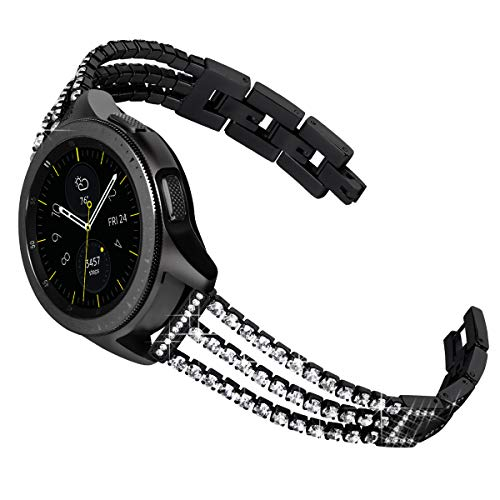 KADES Galaxy Watch 42mm Band, Galaxy Watch Active Band, 20mm Replacement Strap with Quick Release Pin Compatible for Ticwatch E, Amazfit Bip Smart Watch (Sparkling- Black)