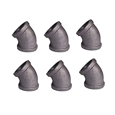 """GeilSpace 1/2"""" Grey Malleable Iron Pipe Fittings - Vintage DIY Industrial Shelving, Industrial Decor, Furniture DIY (45-Degree-Elbow, Grey)"""