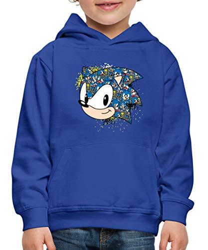 Spreadshirt Sonic The Hedgehog Pixel Head Pull À Capuche Premium Enfant, 7-8 Ans, Bleu Royal
