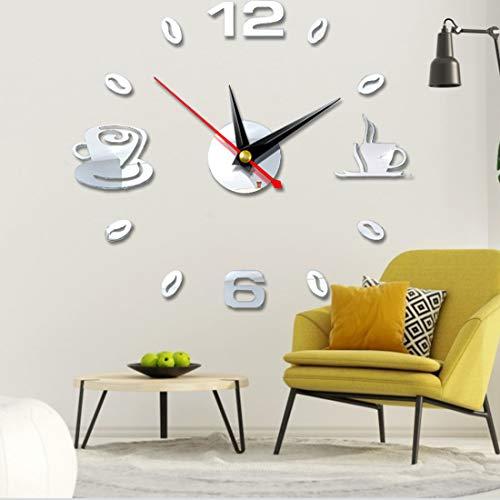 Mute DIY Reloj de Pared sin ZSWQ-3D Relojes De Pared Espejo Pegatina Pared Decoración Ideal para la Casa Oficina Hotel Restaurante