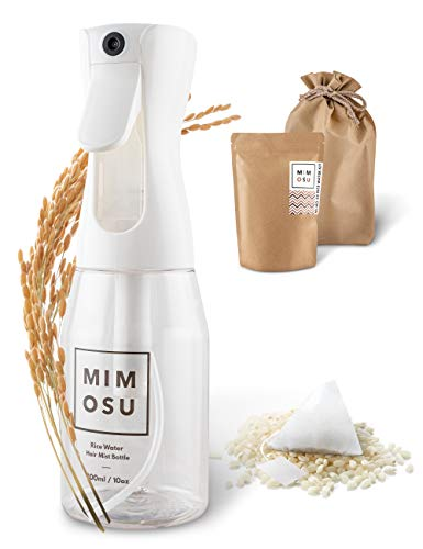mimosu Kit fai da te per balsamo naturale per la crescita dei capelli, acqua di riso per bustine di tè per la crescita dei capelli con pacchetto di flaconi spray continui