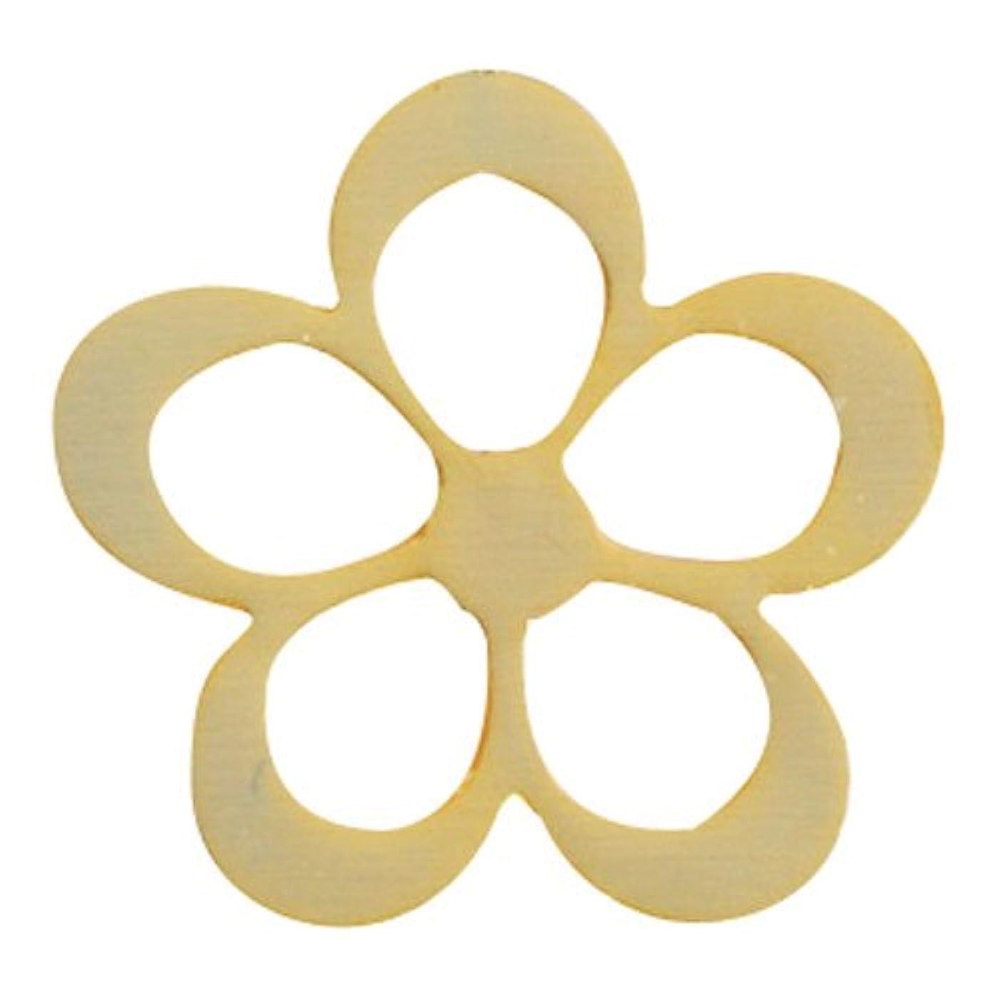 折熟練した減衰リトルプリティー ネイルアートパーツ シャイニーフラワー L ゴールド 10個