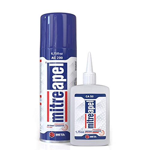 MITREAPEL Super CA Glue (1.75 oz.) with Spray Adhesive Activator (6.75 fl oz.) - Crazy Craft Glue for Wood, Plastic, Metal, Leather, Ceramic - Cyanoacrylate Glue for Crafting and Building (1 Pack)