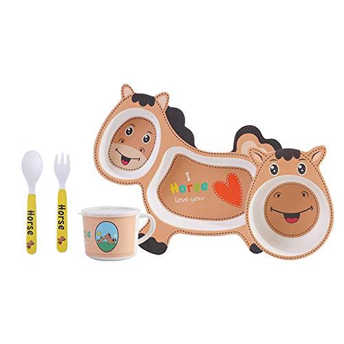 FunBoo Bamboe Paard Kids Dinnerware Peuter Verdeelde Plaat en Bowl Eetset, 5 Stuk Feeding Set, Milieuvriendelijk Dinnerware voor Jongens en Meisjes