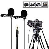 Mouriv CM208 TRS Dual-Head Lavalier Clip-On Mini omnidirectionnel à condensateur Mic interview Micro pour appareil photo DSLR Sony, Canon, Nikon, caméscope, enregistreur, PC pour Vlogging Youtube