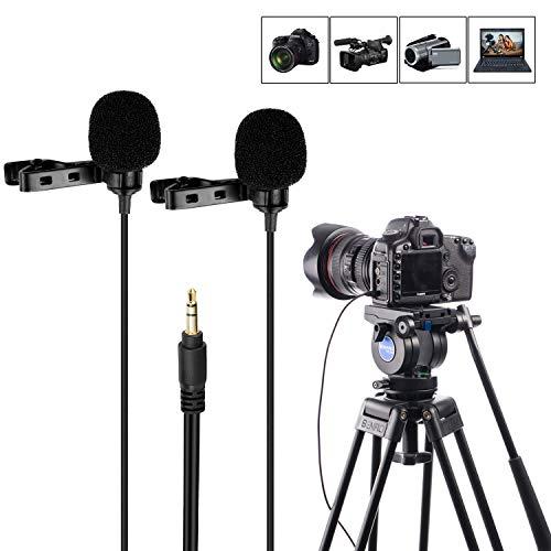 Micrófono lavalier de doble cabezal, Mouriv Micrófono de condensador omnidireccional con clip de solapa TRS para cámara DSLR, Sony Canon Nikon, Videocámara, PC para Youtube, Entrevista, Podcast