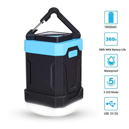 Sunvook Campinglampe LED Camping Lantern 18000mAh USB Wiederaufladbare Tragbar Power Bank, Dimmbarem Zeltlicht/Taschenlampe mit 5 Licht Modi für Camping, Angeln, Notfall, Stromausfall usw.