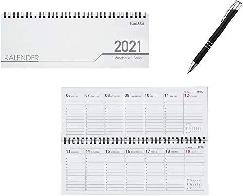 Tischkalender / 32 Blatt / Schreibtischquerkalender 2021 + Metallkugelschreiber