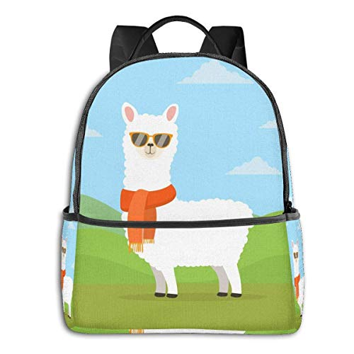 IUBBKI Alpaca With Sunglasses Backpack Unisex Fashion Durable All-Purpose Canvas Backpack.