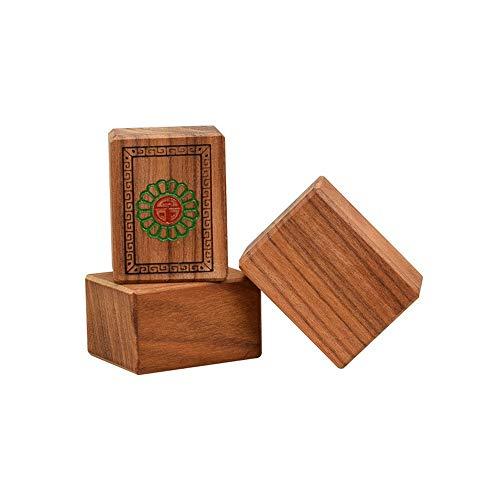 CaoQuanBaiHuoDian Mahjong Juego Conjunto de Mahjong con la Caja de Madera/Recorrido de la Caja de Aluminio de la Familia Tiempo Libre Tradicional Mahjong Durable y Rompecabezas