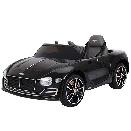BAKAJI Auto Elettrica per Bambini Bentley 12V Doppia velocità Fari Funzionanti Ingresso USB SD Aux MP3 Luci Suoni e Telecomando Dimensione 108 x 60 x 43 cm (Nero)