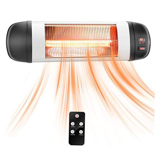 HONERENY 1500W Wall Mounted Infrared Space Heater, Indoor/Outdoor Patio Electric Heater Energy Efficient Waterproof with Remote Control