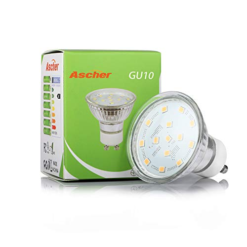 Ascher GU10 LED Light Bulbs, 50W Halogen Bulbs Equivalent, 4W, 400 Lumens, Non-Dimmable, 2700K Warm White, 120° Beam Angle, LED Bulbs for Recessed Track Lighting, GU10 Base, Pack of 5
