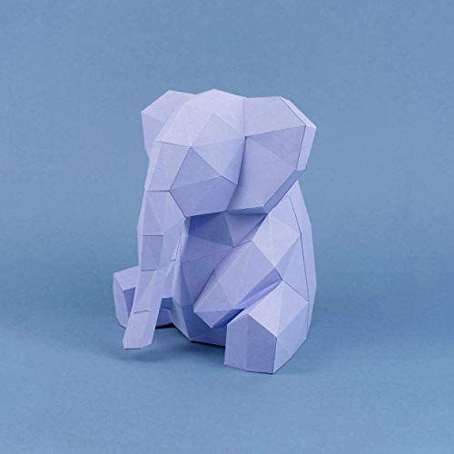 Elefante Lila Papercraft kit,Yona DIY Kit de origami 3D para montar a mano, 3D Puzzle para la decoración de hogar,Trofeo de papel, Regalo de papel,Bricolaje en papel, Rompecabezas 3D, Elephant