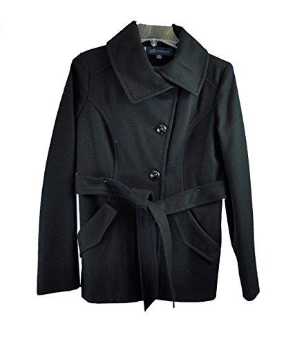 Ak By Anne Klein Women's Wool-blend Envelope Collar Belted Coat Black, P-Medium